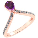 Certified 0.97 Ctw Amethyst And Diamond 14k Rose Gold Halo Ring G-H VS/SI1