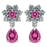 Certified 4.86 Ctw Pink Tourmaline And Diamond 18K White Gold Halo Dangling Earrings