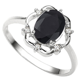 1.29 CT BLACK SAPPHIRE AND ACCENT DIAMOND 0.02 CT 10KT SOLID WHITE GOLD RING