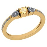 Certified 0.78 Ctw Citrine And Diamond 14k Yellow Gold Halo Ring G-H VS/SI1