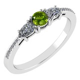 Certified 0.77 Ctw Peridot And Diamond Platinum Halo Ring