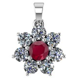 Certified 0.93 Ctw Ruby And Diamond 18K White Gold Halo Pendant G-H VS/SI1