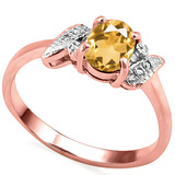 0.59 CT CITRINE AND ACCENT DIAMOND 0.03 CT 10KT SOLID RED GOLD RING