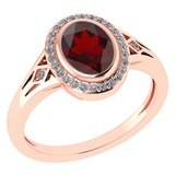 Certified 1.39 Ctw Garnet And Diamond 14k Rose Gold Halo Ring G-H VS/SI1