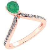 Certified 0.97 Ctw Emerald And Diamond 14k Rose Gold Halo Ring G-H VS/SI1