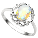1.11 CT WHITE MYSTIC QUARTZ AND ACCENT DIAMOND 0.02 CT 10KT SOLID WHITE GOLD RING