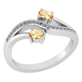 Certified 0.53 Ctw Citrine And Diamond 14k White Gold Halo Ring G-H VS/SI1