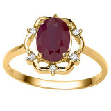 1.38 CT RUBY AND ACCENT DIAMOND 0.02 CT 10KT SOLID YELLOW GOLD RING