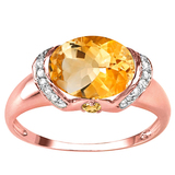 2.08 CT DARK CITRINE 0.1 CT CITRINE AND ACCENT DIAMOND 0.09 CT 10KT SOLID RED GOLD RING