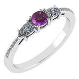 Certified 0.77 Ctw Amethyst And Diamond Platinum Halo Ring