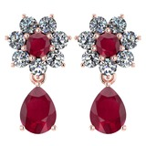 Certified 4.86 Ctw Ruby And Diamond 18K Rose Gold Halo Dangling Earrings