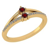 Certified 0.22 Ctw Garnet And Diamond 14k Yellow Gold Halo Ring G-H VS/SI1