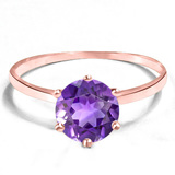 0.71 CT AMETHYST 10KT SOLID RED GOLD RING