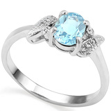 0.97 CT SKY BLUE TOPAZ AND ACCENT DIAMOND 0.03 CT 10KT SOLID WHITE GOLD RING