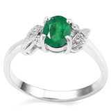 0.65 CT EMERALD AND ACCENT DIAMOND 0.03 CT 10KT SOLID WHITE GOLD RING