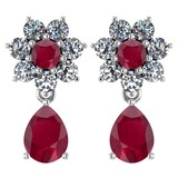 Certified 4.86 Ctw Ruby And Diamond Platinum Halo Dangling Earrings