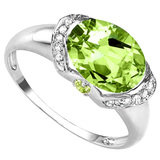 3.16 CT PERIDOT 0.1 CT WHITE TOPAZ AND ACCENT DIAMOND 0.09 CT 10KT SOLID WHITE GOLD RING
