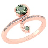 Certified 0.85 Ctw Green Amethyst And Diamond 14k Rose Gold Halo Ring G-H VS/SI1