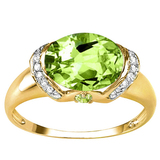 3.16 CT PERIDOT 0.1 CT WHITE TOPAZ AND ACCENT DIAMOND 0.09 CT 10KT SOLID YELLOW GOLD RING