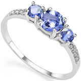 0.73 CT TANZANITE AND ACCENT DIAMOND 0.04 CT 10KT SOLID WHITE GOLD RING