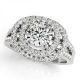 CERTIFIED PLATINUM 1.55 CTW G-H/VS-SI1 DIAMOND HALO ENGAGEMENT RING