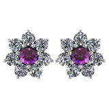 Certified 1.86 Ctw Amethyst And Diamond Platinum Halo Stud Earrings