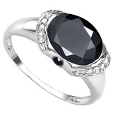 2.68 CT BLACK SAPPHIRE 0.1 CT SAPPHIRE AND ACCENT DIAMOND 0.09 CT 10KT SOLID WHITE GOLD RING