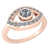 Certified 0.49 Ctw Diamond SI1/SI2 Halo Ring 18k Rose Gold Made In USA