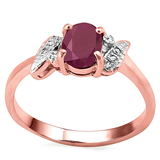 0.94 CT RUBY AND ACCENT DIAMOND 0.03 CT 10KT SOLID RED GOLD RING