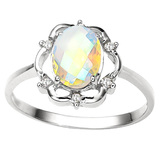 1.11 CT WHITE MYSTIC QUARTZ AND ACCENT DIAMOND 0.02 CT 10KT SOLID YELLOW GOLD RING