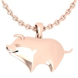 Gold Chinese Year of Pig Style Necklace 18K Rose Gold Made In Italy