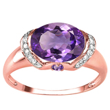 1.79 CT AMETHYST 0.1 CT AMETHYST AND ACCENT DIAMOND 0.09 CT 10KT SOLID RED GOLD RING