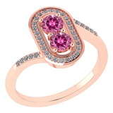 Certified 0.68 Ctw Pink Tourmaline And Diamond 14k Rose Gold Halo Ring G-H VS/SI1