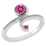Certified 0.85 Ctw Pink Tourmaline And Diamond 14k White Gold Halo Ring G-H VS/SI1