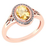 Certified 1.39 Ctw Citrine And Diamond 14k Rose Gold Halo Ring G-H VS/SI1