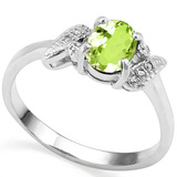 0.71 CT PERIDOT AND ACCENT DIAMOND 0.03 CT 10KT SOLID WHITE GOLD RING