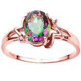 1.03 CT RAINBOW MYSTIC QUARTZ AND ACCENT DIAMOND 0.01 CT 10KT SOLID RED GOLD RING