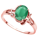1.10 CT EMERALD AND ACCENT DIAMOND 0.01 CT 10KT SOLID RED GOLD RING