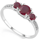0.98 CT RUBY AND ACCENT DIAMOND 0.04 CT 10KT SOLID WHITE GOLD RING