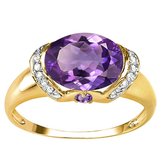 1.79 CT AMETHYST 0.1 CT AMETHYST AND ACCENT DIAMOND 0.09 CT 10KT SOLID YELLOW GOLD RING