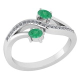Certified 0.53 Ctw Emerald And Diamond 14k White Gold Halo Ring G-H VS/SI1