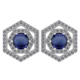Certified 1.38 Ctw Blue Sapphire And Diamond 18k White Gold Halo Stud Earrings G-H VS/SI1