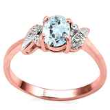 0.61 CT AQUAMARINE AND ACCENT DIAMOND 0.03 CT 10KT SOLID RED GOLD RING