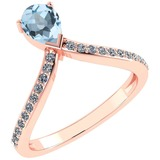 Certified 0.97 Ctw Aquamarine And Diamond 14k Rose Gold Halo Ring G-H VS/SI1