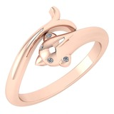 Certified 0.02 Ctw Diamond VS/SI1 Fish Style Ring 18K Rose Gold Made In USA