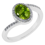 Certified 1.44 Ctw Peridot And Diamond 14k White Gold Halo Ring G-H VS/SI1