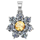 Certified 0.93 Ctw Citrine And Diamond 18K White Gold Halo Pendant G-H VS/SI1