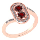 Certified 0.68 Ctw Garnet And Diamond 14k Rose Gold Halo Ring G-H VS/SI1
