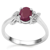 0.94 CT RUBY AND ACCENT DIAMOND 0.03 CT 10KT SOLID WHITE GOLD RING