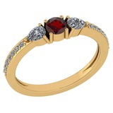 Certified 0.78 Ctw Garnet And Diamond 14k Yellow Gold Halo Ring G-H VS/SI1